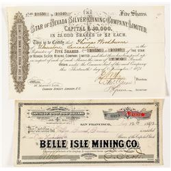 Two Mining Stock Certificates