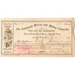 The Cincinnati Mining and Milling Company Stock Certificate