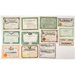 Thirteen Mining Stock Certificates