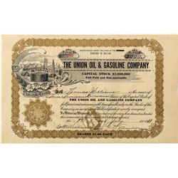 Union Oil & Gasoline Company Stock Certificate