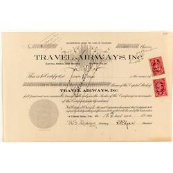 Founders Certificate: Travel Airways Inc. Stock Certificate