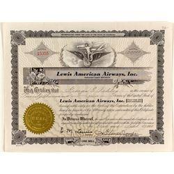 Lewis American Airways Stock Certificate