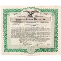 Hollywood Famous Pictures Stock Certificate