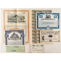 Southern California Water Company Stock Certificate & Bonds