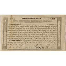 Gold-Rush Era Alta California Telegraph Co. Stock Certificate