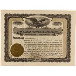 M.W. Savage Factories Incorporated Stock Certificate (Mail Order)