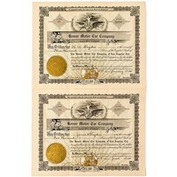 Homer Motor Car Company Stock Certificates