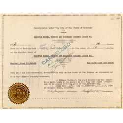 Cripple Creek, Victor, and Colorado Springs Stage Company Stock Certificate