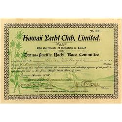 Hawaii Yacht Club Certificate