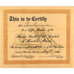 Hawaii Yacht Club Membership Certificate