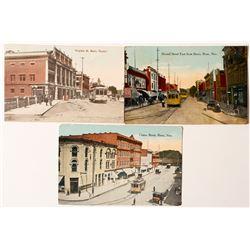 Three Hand Colored Street Car Postcards