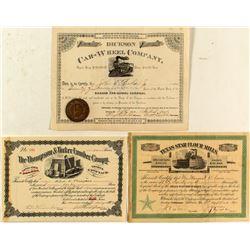 Three Rare Texas Stock Certificates (Lumber, Railroad, Etc.)