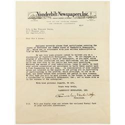 Cornelius Vanderbilt Jr. Autographed Letter