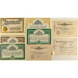 Nine Cripple Creek Mining Stock Certificates