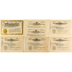 Seven Cripple Creek Mining Stock Certificates