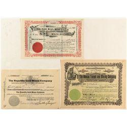 Three Cripple Creek Mining Stock Certificates