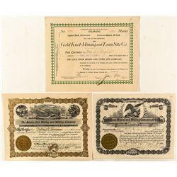 Three Scarce Cripple Creek Mining Stock Certificates