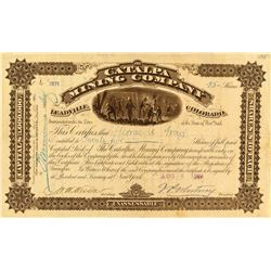 Catalpa Mining Company Stock Signed by J.P. Whitney