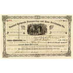 Central Colorado Prospecting and Mine Developing Company Stock Certificate