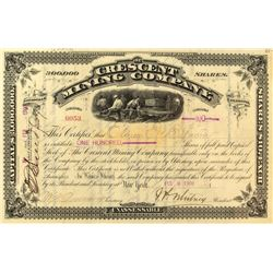 Crescent Mining Company Stock Certificate Signed by JP Whitney