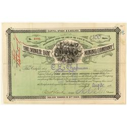 The Miner Boy Mining Company Stock Certificate