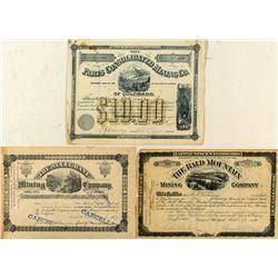 Three Different Leadville Mining Stock Certificates