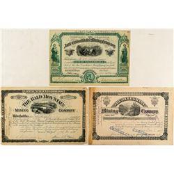 Three Leadville Mining Stock Certificates