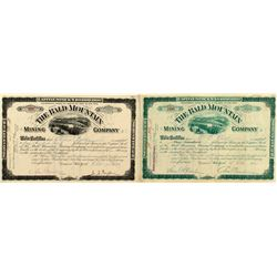 Two Different Bald Mountain Mining Company Stock Certificates