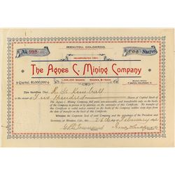 The Agnes C. Mining Company Stock Certificate