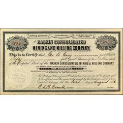 Baskin Consolidated Mining & Milling Company Stock Certificate