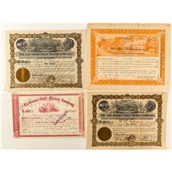 Four Colorado Gold Mining Stock Certificates