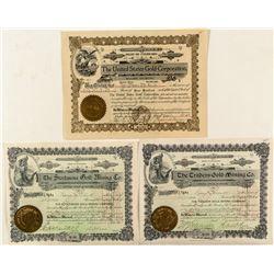 Three Colorado Gold Mining Stock Certificates