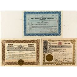 Three Nice Colorado Mining Stock Certifcates