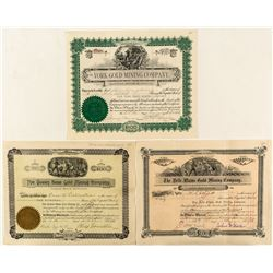 Three pre-1900 Colorado Gold Mining Stock Certificates