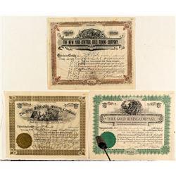 Three Rare Colorado Gold Mining Stock Certificates