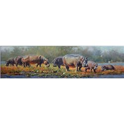 """Fish Eagle Bay, Kariba"" - Original Oil Painting by Renowned British-Born Wildlife Artist Tony Forre"