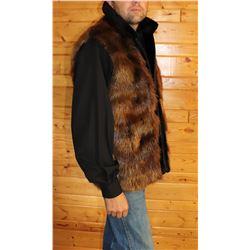 Men's Natural Beaver Fur Vest with Sheared Beaver Fur Trim