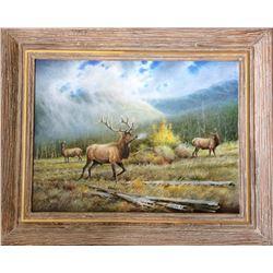 """Estes Royal"" - Framed Original Oil on Canvas by Wildlife Artist Ronnie Wells"