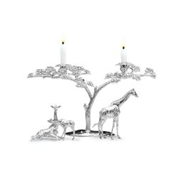 Enchanting Giraffe and Acacia Candelabra in Solid Sterling Silver by Patrick Mavros