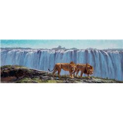 """On the Edge of the Mighty Victoria Falls"" - Original Artwork by John Banovich"