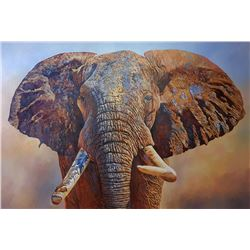 """Big Tusker"" - Original Oil on Canvas by Renowned Elephant Artist Dawie Fourie"