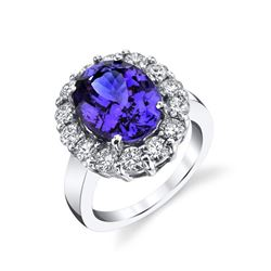 6.80 Carat Tanzanite & Diamond Ring