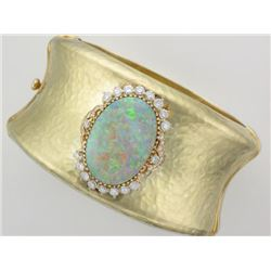 Opal and Diamond Wide Cuff Bracelet