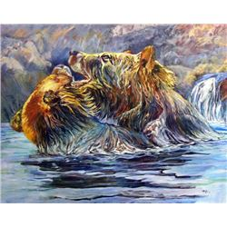 'THE BEARS' BY TERRY LEE ORIGINAL OIL ON CANVAS