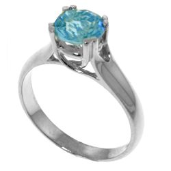 Genuine 1.10 ctw Blue Topaz Ring Jewelry 14KT White Gold - REF-57R3P