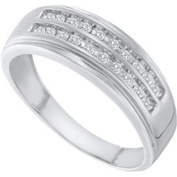 0.25 CTW Mens Natural Diamond 2-row Anniversary Band 10K White Gold