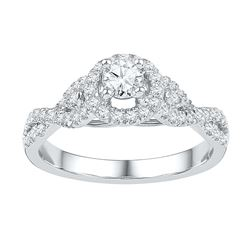 0.5 CTW Natural Diamond Woven Bridal Engagement Ring 14K White Gold