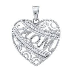 0.1 CTW Natural Diamond Mother Mom Heart Charm Pendant 10K White Gold