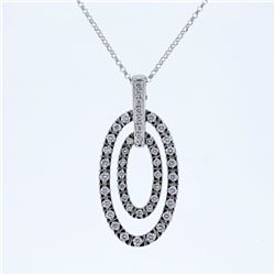 18K White Gold 0.99CTW Diamond Necklaces - REF-164Y5X