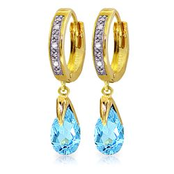 Genuine 2.53 ctw Blue Topaz & Diamond Earrings Jewelry 14KT Yellow Gold - REF-58T2A